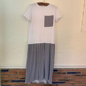 Zara White & Black Stripe T- Shirt Midi Dress